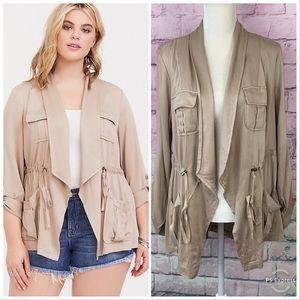 Torrid tan twill drape anorak jacket 1